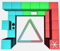 Distribución de la cocina en U, armarios en 3 frentes triángulo de trabajo