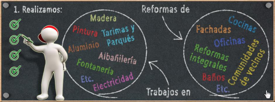 Realizamos reformas de cocinas, baños, reformas integrales, etc. y trabajos de albañilería, pintura, tarimas y parqués, fontanería - Reformas Unai Ordoñez