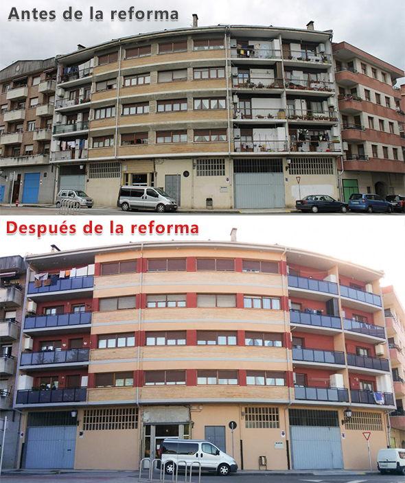 Infografía reforma de una fachada en Amorebieta tono burdeos ladrillo caravista