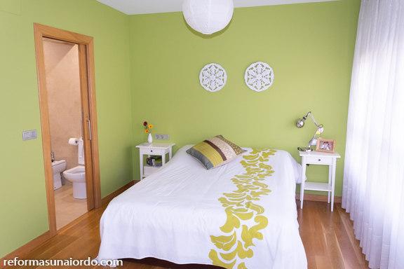 Habitación principal verde manzana