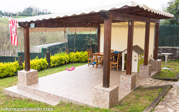 Pergola jardín exterior reforma integral caserio abadiano